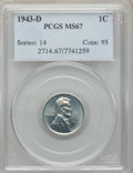 Lincoln Cents: , 1943-D 1C MS67 PCGS. PCGS Population: (2414/146). NGC Census: (3337/59). CDN: $140 Whsle. Bid for problem-free NGC/PCGS MS6...