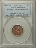 1957-D 1C -- Peeled Lamination Obv -- MS63 Brown PCGS. PCGS Population: (14/92). NGC Census: (4/98). Mintage 1,051,342,0...
