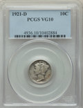 1921-D 10C VG10 PCGS. PCGS Population: (236/1375). NGC Census: (117/664). CDN: $115 Whsle. Bid for problem-free NGC/PCGS...