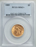1885 $5 MS62+ PCGS. PCGS Population: (331/366 and 7/29+). NGC Census: (384/402 and 5/10+). MS62. Mintage 601,400. ...(PC...