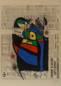 Fine Art - Work on Paper:Print, Joan Miró (1893-1983). Le journal, 1972. Lithograph in colors on paper. 29-1/4 x 20-7/8 inches (74.3 x 53 cm) (sheet). E...