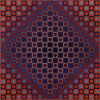Victor Vasarely (1906-1997) Boglar, 1966 Screenprint in colors on card mounted on wood, trimmed marg