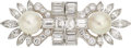 Estate Jewelry:Brooches - Pins, Cultured Pearl, Diamond, Platinum, Gold Double-Clip-Brooch. ...