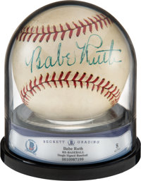 1940's Babe Ruth Single Signed Baseball, Beckett Auto 8