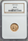 Indian Quarter Eagles: , 1929 $2 1/2 MS62 NGC. NGC Census: (7967/9362). PCGS Population: (4731/6696). MS62. Mintage 532,000. ...