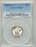 Mercury Dimes: , 1941-S 10C MS67 PCGS. PCGS Population: (182/2). NGC Census: (424/4). CDN: $80 Whsle. Bid for problem-free NGC/PCGS MS67. Mi...
