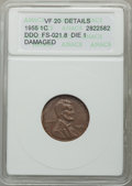 1955 1C Doubled Die Obverse, FS-021.8 Die 1 -- Damaged -- ANACS. VF20 Details. NGC Census: (0/0). PCGS Population: (0/0)...