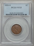Lincoln Cents: , 1931-S 1C VF25 PCGS. PCGS Population: (97/3688). NGC Census: (81/2342). Mintage 866,000. ...