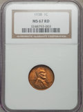 1938 1C MS67 Red NGC. NGC Census: (660/0). PCGS Population: (338/1). CDN: $130 Whsle. Bid for problem-free NGC/PCGS MS67...