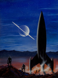 Morris Scott Dollens (American, 1920-1994) Night on Titan, Venture Science Fiction, May 1958 Acrylic on board 20 x 15