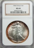Modern Bullion Coins, 1986 $1 Silver Eagle MS68 NGC. NGC Census: (2623/143541). PCGS Population: (1647/16266). Mintage 5,393,005....