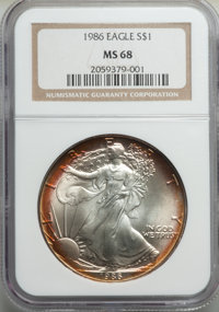 1986 $1 Silver Eagle MS68 NGC. NGC Census: (2623/143541). PCGS Population: (1647/16266). Mintage 5,393,005....(PCGS# 980...
