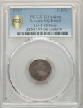 Early Half Dimes, 1797 H10C 15 Stars, V-2, LM-1, R.3, -- Stained -- PCGS Genuine Gold Shield. VG Details. NGC Census: (0/33 and 0/0+). PCGS P...