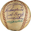 Baseball Collectibles:Balls, Early 1950's Baseball Greats Multi-Signed Baseball with Campanella....