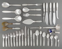 A One Hundred and Eighty-Seven-Piece Georg Jensen Cactus Pattern Silver Flatware Service