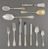 A One Hundred Seven-Piece Assembled French Partial Gilt Silver Flatware Service for Twelve from the Royal Egyptian Colle...