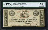 Raleigh, NC- State of North Carolina $20 Feb. 15, 1862 Cr. 77B PMG About Uncirculated 53