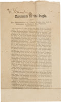 "Political:Small Paper (1896-present), [15th Amendment]. ""Documents for the People"". A West Virginia Republican Printing...."