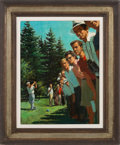 "Golf Cards:General, ""Follow the Ball"" Original Painting by Arthur Sarnoff...."