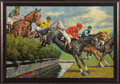 Miscellaneous Collectibles:General, Circa 1980 Steeple Chase Original Painting by Arthur Sarnoff....