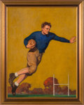 """Football Collectibles:Others, 1931 Halfback Original Painting by John Newton Howitt Used on Cover of """"The Country Gentleman""""...."""