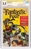 Silver Age (1956-1969):Superhero, Fantastic Four #2 Signature Series - Stan Lee (Marvel, 1962) CGCFN- 5.5 Off-white pages....