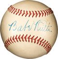 Baseball Collectibles:Balls, 1946-47 Babe Ruth Single Signed Baseball, PSA/DNA NM 7....