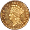 Three Dollar Gold Pieces, 1877 $3 MS61 PCGS....
