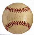 Baseball Collectibles:Balls, 1940 Babe Ruth Single Signed Baseball....