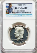 Proof Kennedy Half Dollars, 1968-S 50C PR69★ Cameo NGC. 50th Anniversary. NGC Census: (382/0 and 49/0*). PCGS Population: (238/0 and 49/0*). PR6...