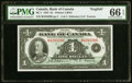 Canadian Currency, BC-1 $1 1935 PMG Gem Uncirculated 66 EPQ.. ...