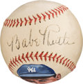 Baseball Collectibles:Balls, 1936-45 Babe Ruth Signed Baseball with Artwork by JohnGiancaspro....