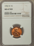 1952-D 1C MS67 Red NGC. NGC Census: (218/0). PCGS Population: (87/0). CDN: $300 Whsle. Bid for problem-free NGC/PCGS MS6...