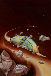 Peter Andrew Jones (American, b. 1951) Rogue Ship paperback cover, 1975 Acrylic on board 21-3/4 x 14-1/2 inches Init