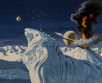 Kenneth Fagg (American, 1901-1980) A Volcanic Eruption on Titan, Sizth Moon of Saturn, If Science Fiction cover, July 1...