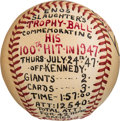 "Baseball Collectibles:Balls, 1947 Enos Slaughter Hand-Painted ""Trophy Ball"" Commemorating His ""100th Hit"" from The Enos Slaughter Collection...."