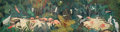 Fine Art - Painting, American, Jessie Arms Botke (American, 1883-1971). Study for the OaksHotel Mural, Ojai. Oil and gold leaf on board. 11 x 39 inche...