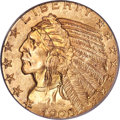 Indian Half Eagles, 1908-S $5 MS65 PCGS....