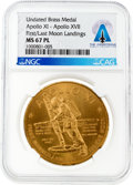 "Explorers:Space Exploration, Apollo 11 and 17: ""Apollo XI First Manned Landing on the Moon"" / ""Apollo XVII Last Manned Landing in This Century"" Brass Medal..."