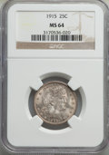 Barber Quarters: , 1915 25C MS64 NGC. NGC Census: (118/67). PCGS Popu...