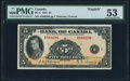 Canadian Currency, BC-5 $5 1935 PMG About Uncirculated 53.. ...
