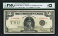 Canadian Currency, DC-26l $2 1923 PMG Choice Uncirculated 63.. ...