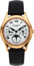 Timepieces:Wristwatch, Patek Philippe, Very Fine and Rare 3940R, Perpetual Calendar, WhiteRoman Dial, Circa 2003. ...