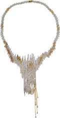Estate Jewelry:Necklaces, Diamond, Yellow Sapphire, Mother-of-Pearl, Gold, Sterling Silver Brooch-Necklace, Erté. ...