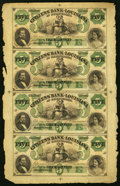 Obsoletes By State:Louisiana, New Orleans, LA- Citizens' Bank of Louisiana $5-$5-$5-$5 18__ Uncut Sheet Crisp Uncirculated.. ...
