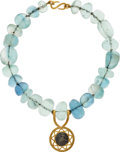 Estate Jewelry:Necklaces, Ancient Coin, Fluorite, Gold, White Metal Necklace, Michele Delville . ...
