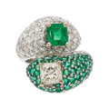 Estate Jewelry:Rings, Diamond, Emerald, White Gold Ring. ...