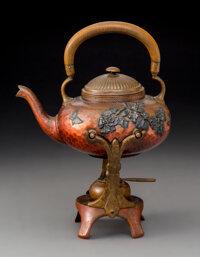 A Gorham Mfg. Company Mixed Metals Kettle on Stand with Chafing Stand, Providence, Rhode Island, circa 1880 Marks: