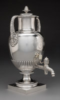 Silver & Vertu, A Paul Storr Regency Silver Tea Urn, London, 1817. Marks: (lion passant), (crowned leopard's head), (duty mark), B, PS...
