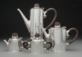 Silver & Vertu, A Four-Piece William Spratling Silver and Hardwood Tea and Coffee Service, Taxco, Mexico, circa 1956-1965. Marks to coffee p... (Total: 4 Items)